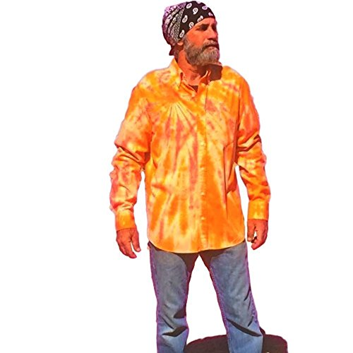 Orange Tie Dye Button Down Shirt, OOAK - M by Incense and Peppermints