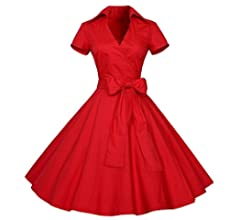 c5a2ccdb10c2a Kanzd Women Summer Vintage Dress 50S 60S Swing Pinup Retro Casual Housewife  Evening Party Dresses A. Back. Double-tap to zoom. Color: A