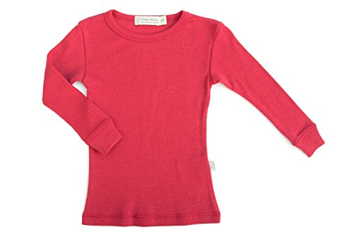 Pure Merino Wool Kids Thermal Top. Base Layer Underwear Pajamas. Pink 9-10 Yrs