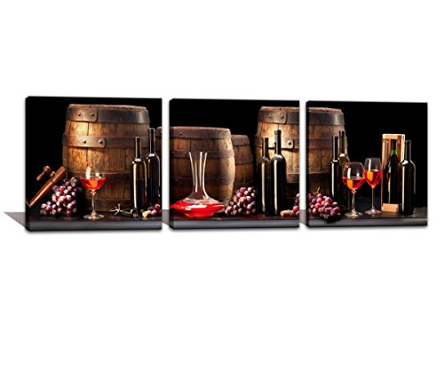 (Noah Art Modern Still Life Art Print, Red Wine Old Barrel Fruit Grape and Wine Bottle Art Photos on Canvas Prints Wall Art, 3 Panel Stretched Canvas Wall Decor for Kitchen 20x20inchx3pcs)
