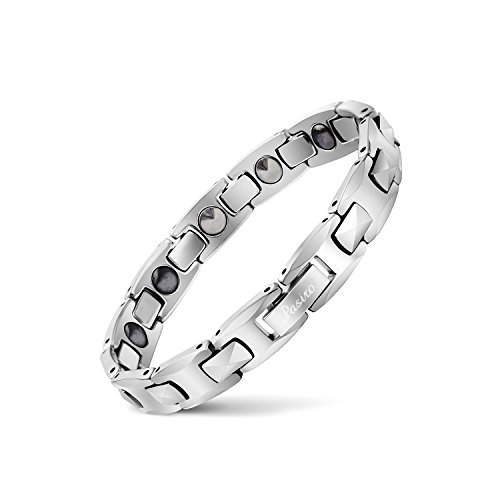 Pasiro Womens Tungsten Magnetic Therapy Bracelet Pain Relief for Arthritis and Carpal Tunnel (Silver, 19.5) (Best Pain Relief For Carpal Tunnel)