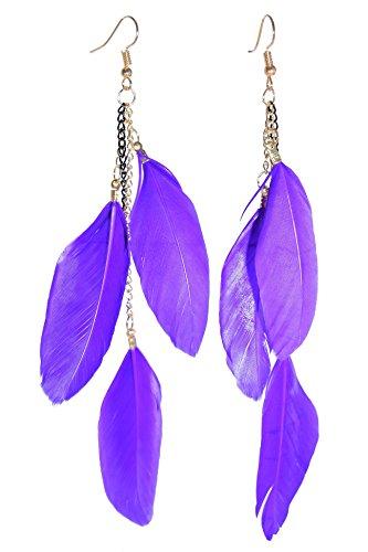 LiveSublime Feathers and Chains Boho Chic Dangle Earrings ()