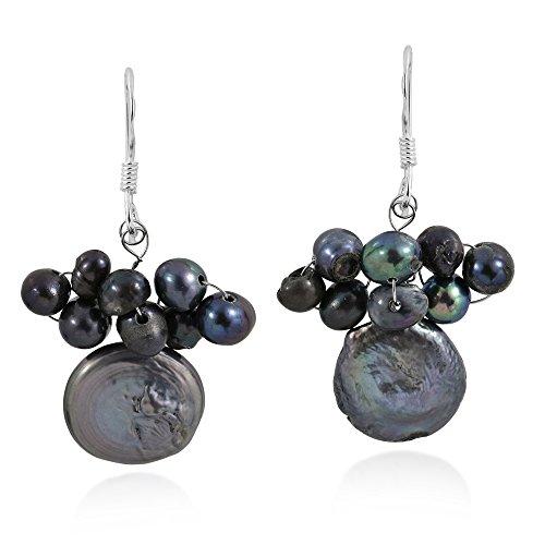 (Cultured Freshwater Black Pearl Disco Cluster .925 Sterling Silver Dangle Earrings)