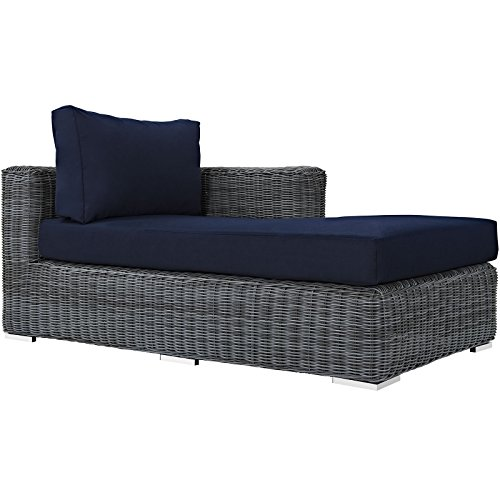 Modway Summon Outdoor Patio Right Arm Chaise With Sunbrella Brand Navy Canvas - Arm Sunbrella