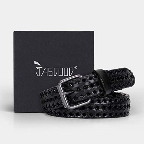 JasGood Cintura da uomo in pelle intrecciata pelle bovina intrecciata per jeans 1,3 cm di larghezza con fibbia a rebbe.