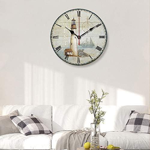S.W.H Horloge Murale Classique Phare,Chiffres de Pile R/étro Horloge en Bois Silencieuse pour Salle de Bains Cuisine,12 Pouces