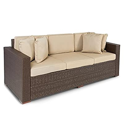 Best Choice Products 3-Seat Outdoor Wicker Sofa Couch Patio Furniture w/Steel Frame, Removable Cushions