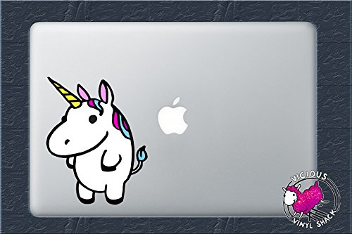 Colorful Fat Cute Unicorn  Color Vinyl Decal Sticker MacBook