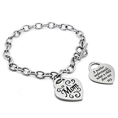 Stainless Steel I Love Mom Heart Tag Charm Bracelet, 7.5 (Heart Tag Toggle Bracelet)