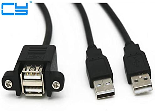 Cables Dual Port USB 2.0 A Male to Female M//F Extension Screw Lock Panel Mount Cable 50cm 30cm Cable Length: 30cm