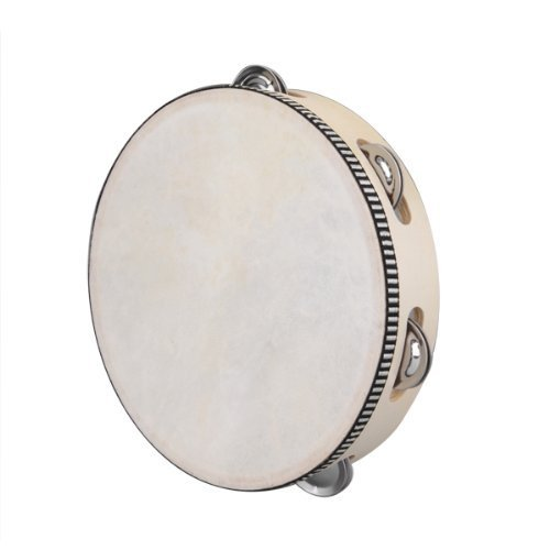 TOOGOO(R) 8″ Musical Tambourine Tamborine Drum Round Percussion Gift for KTV Party