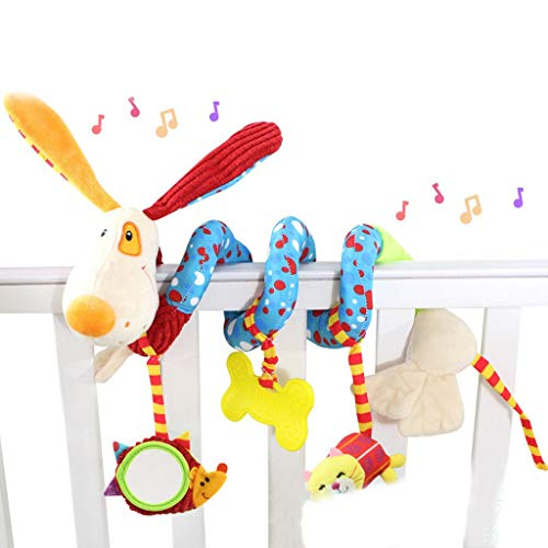 (Babyplay Activity Spiral Plush Dog Puppy Rattle Toy for Hanging on Crib & Stroller)