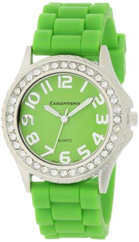 Cerentino Women's 2005R-G Crystal Bezel Boyfriend Green Silicone Rubber Strap Watch