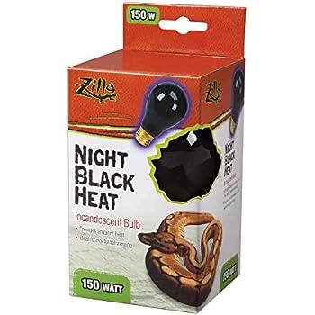 Zilla Reptile Terrarium Heat Lamps Incandescent Bulb, Night Black,150W