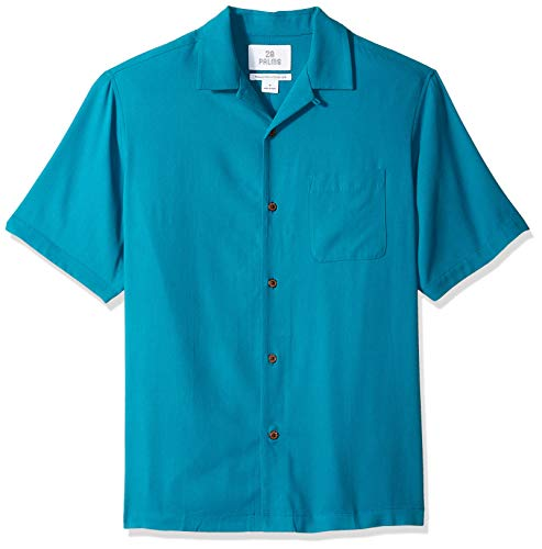 28 Palms Men's Relaxed-Fit 100% Silk Camp Shirt, Teal, Large