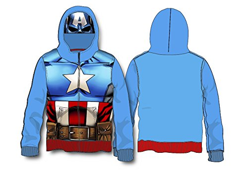 Superhero Little Boys' Zip-Up Fleece Hoodie With Mesh Mask (4, Captain America Classic) (Captain America Hoodie With Mask compare prices)