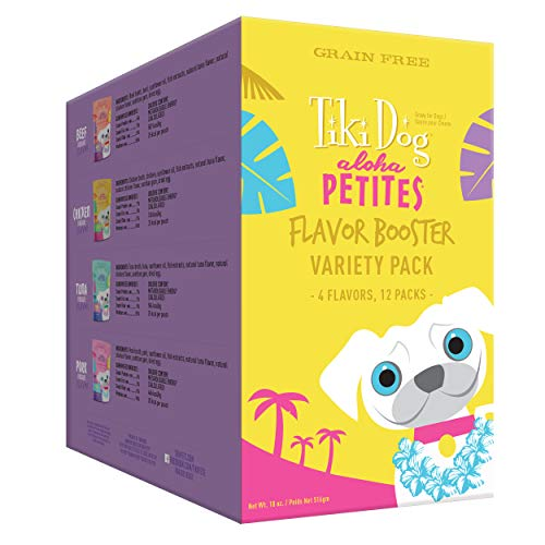 Tiki Dog Aloha Petites Flavor Booster Bisque Variety Pouches - Grain Free Dog Food Flavor Booster - 1.5 oz (12 Pack) (Petite Pouch)