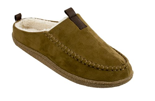 (IZOD Men's Micro Suede Clog Slippers, Tan, XL/11-12 M US)