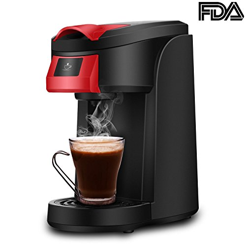 Single Serve Coffee Maker, LDesign One Touch Operation Coffee Machine for Most single cup pods, Quick Brew Technology Travel One Cup Coffee Brewer (Red)