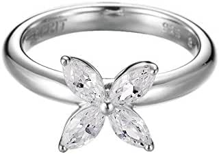 ESPRIT Women's Ring 925 Sterling Silver Rhodium Plated Glass Zirconia Thriving Flora Glam White