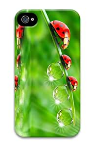 case stylish Ladybugs Leaves Drops PC Case for iphone 4/4S