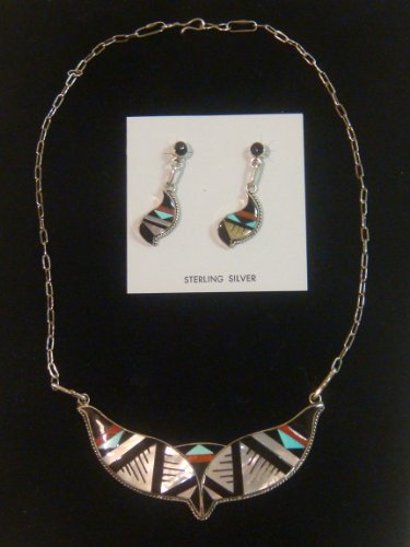 Zuni Neclace & Earrings Set by B Sterling Silver with Multi Stone Inlays