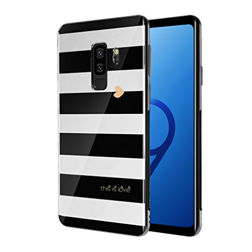 Samsung Galaxy S9+ Plus Case, Tempered Glass + TPU Bumper Full Body Protection Shockproof Cover Case Drop Protection for Galaxy S9+ Plus (2018 Release) (White and Black)