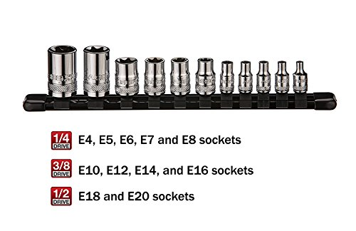 ARES 70261 | External Torx Socket Set | 11-Piece Set Includes 1/4-inch, 3/8-inch and 1/2-inch Drive E4 to E20 Sockets | Set Comes Complete with Convenient Socket Storage Rail by ARES (Image #2)