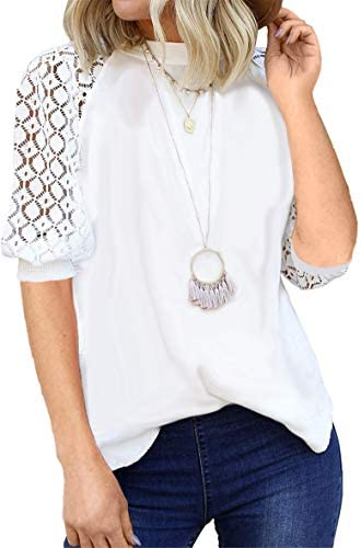 MIEMIE WOMEN'S LACE SHORT SLEEVE T-SHIRT CASUAL LOOSE ROUND NECK TEE SHIRTS