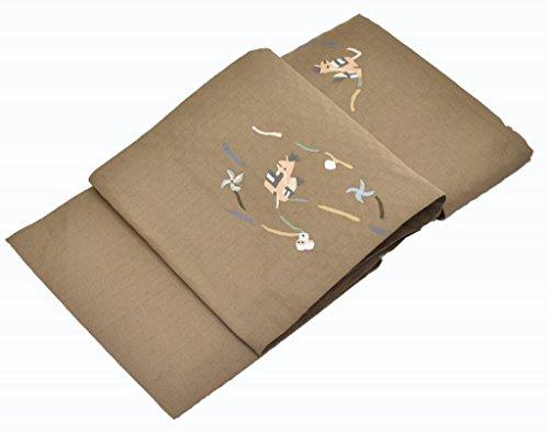 バズ民兵小切手リサイクル 名古屋帯 中古 正絹 八寸 なごやおび 特選 茶系 変り織 すくい織 子馬文様