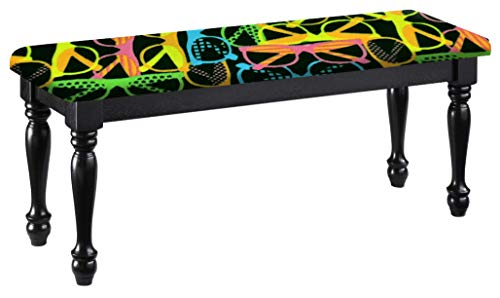 Traditional Farmhouse Style Dining Bench with Black Legs and a Padded Seat Cushion Featuring Your Favorite Novelty Themed Fabric Covered Bench Top (Neon Sunglasses Fleece) -