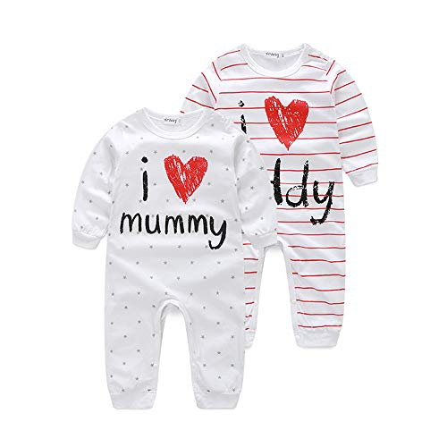 Kimocat Unisex-Baby Newborn I Love Mummy I Love Daddy Long Sleeve Romper Pajama Outfits (Whitemom, -
