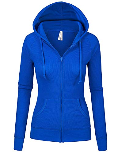 Zipper Knitted - TL Women's Comfy Versatile Warm Knitted Casual Zip-Up Hoodie Jackets in Colors RBLUE 3XL