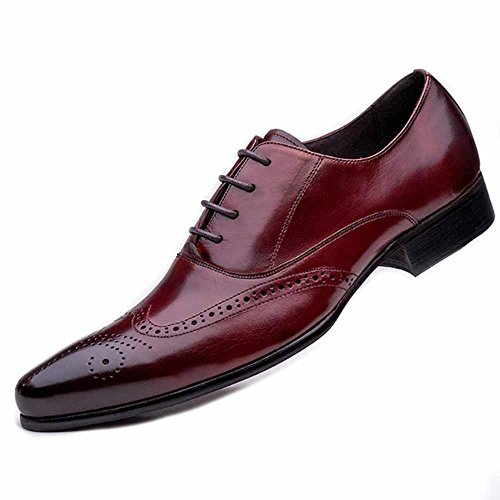 Fulinken Men Genuine Oxford Leather Lace Up Slip On Boots Formal
