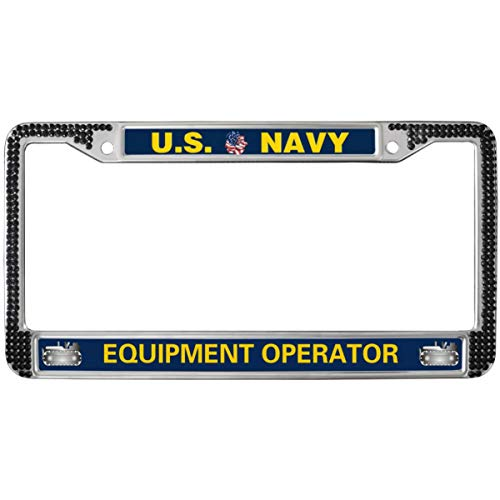 GND United States Navy Black Stainless License Plate Frame,US Navy Equipment Operator License Plate Frame Black Rhinestones Rhinestones Crystal License Plate Frame Fit US Cars