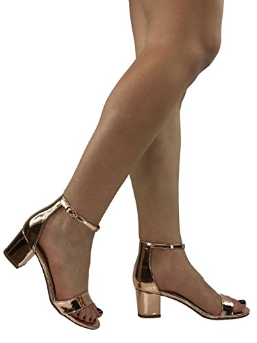 Rose Marie Sandal Block Heel Gold Toe Womens Strappy Bella Open 8xAd108q