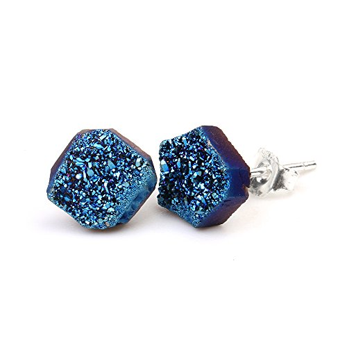 Women Freeform Titanium Healing Power Crystal Quartz Druzy Stud Earrings Jewelry (Blue)
