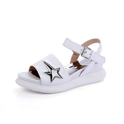 Amoonyfashion Womens Kattunge Klackar Mjukt Material Diverse Färg Spänne Sandaletter Vita