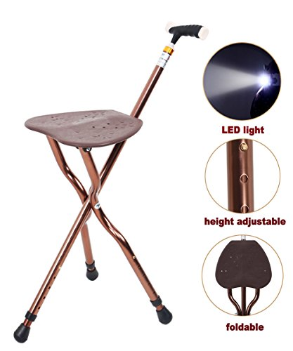 Best Health Cane Seat Stool Retractable Lightweight Walking Stick with LED Light for Elderly Outdoor Travel Rest Stool Folding Chair Replacement Large Golf Seat Large Weight Capacity (brown cane seat) - Folding Stool Cane