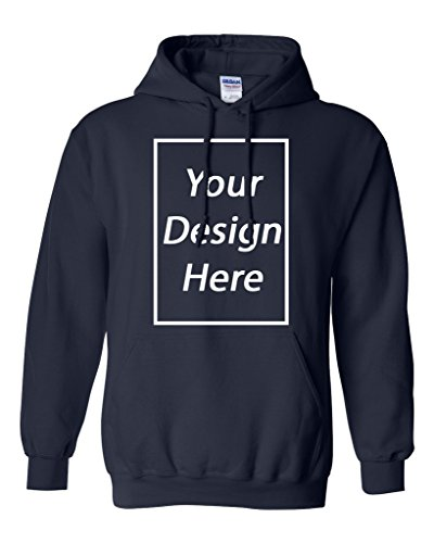 Add Your Own Text and Design Custom Personalized Sweatshirt Hoodie (Medium, Navy Blue)