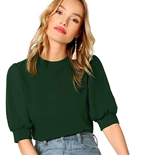 SheIn Women's Casual Half Sleeve Office Blouse for Work Round Neck Top Plain Shirt Green-2 Medium