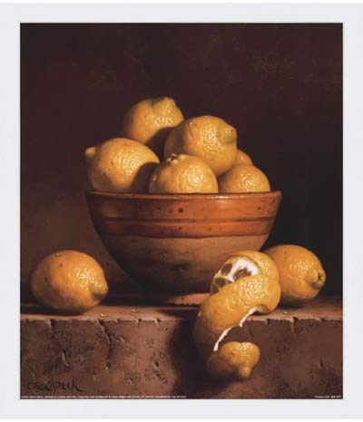 - Poster Palooza Framed Lemons in a Bowl with Peel- 12x14 Inches - Art Print (Classic White Frame)