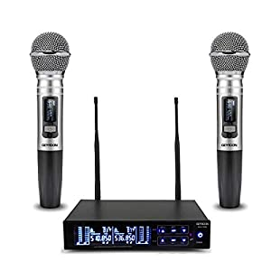 Wireless Microphone System, GEARDON 100 Channel Dual UHF Metal Cordless Handheld Mic Set with 200ft Long Range…