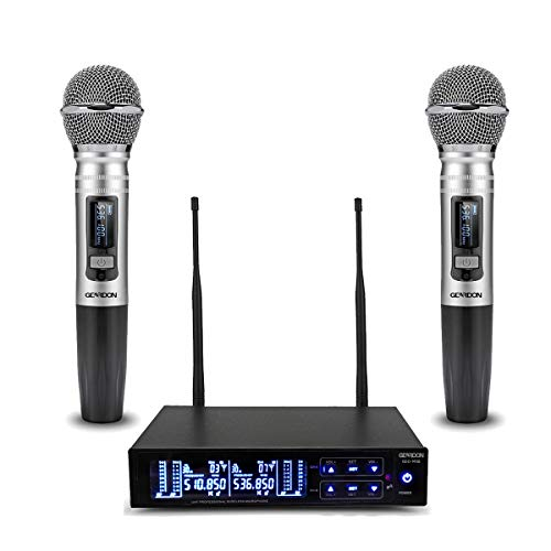 - GEARDON Dual Wireless Microphone System, 200 Channel UHF Metal Cordless Handheld Mic Set with 250ft Long Range Professional Performance for Presentation/Church/Karaoke