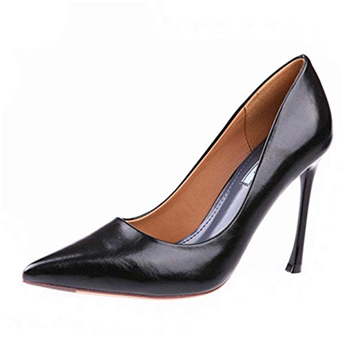 Fashion A shoes single work patent mouth shallow shoes pointed YMFIE stiletto heels black elegant temperament simple leather dqSHZa
