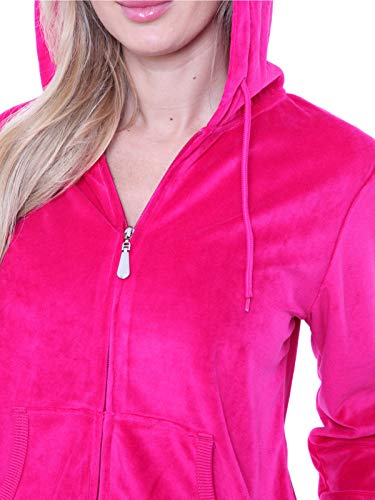 Women's Athletic Soft Velour Zip Up Hoodie & Sweat Pants Set Jogging Suit (XL, Fuchsia) ()