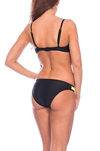 Kendindza Collection - Conjunto - para mujer Bikini Schwarz / Gelb