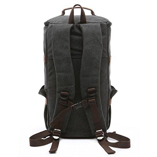BAOSHA HB-26 3-Ways Vintage Canvas Men Holdall Weekend Travel Duffel Bag Backpack Messenger Shoulder Bags Convertible Travel Hiking Rucksack Weekender Overnight Bag Handbag (Black) by Baosha (Image #2)