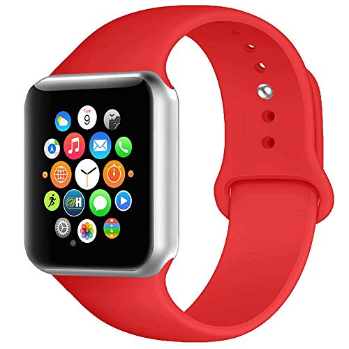 BOTOMALL Compatible with Iwatch Band 38mm 40mm 42mm 44mm Classic Silicone Sport Replacement Strap Bracelet for Iwatch All Models Series 4 Series 3 Series 2 Series 1 (Red,42/44mm S/M)