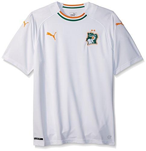 PUMA Men's Fif Ivory Coast Replica Jersey, Away White Flame Orange, XL